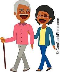 african american, senior összekapcsol, gyalogló