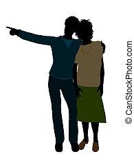 African American Senior Couple Illustration Silhouette