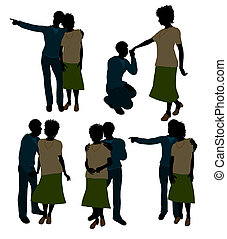 African American Senior Couple Illustration Silhouette