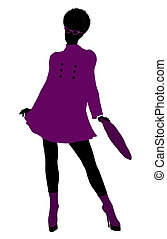 African American Shop Girl Silhouette