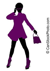 African American Shop Girl Silhouette - African American...
