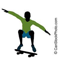 African American Skateboarder Silhouette - African american...