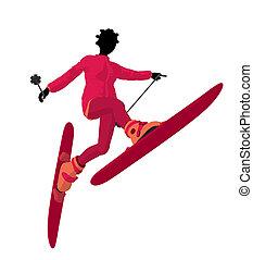 African American Skier Girl Illustration Silhouette -...