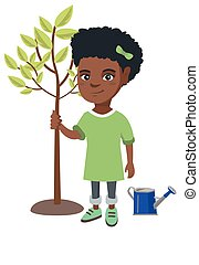 African-american smiling girl planting a tree.