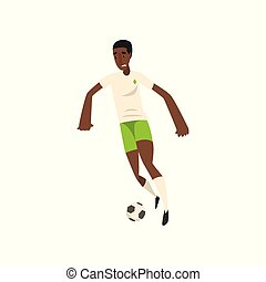 African american soccer player kicking the ball vector Illustration on a white background
