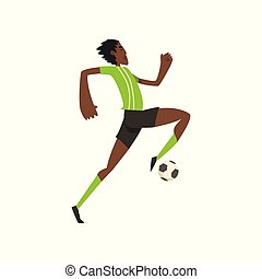 African american soccer player running and kicking the ball vector Illustration on a white background