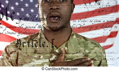 African American soldier hand on heart with US flag waving and constitution foreground
