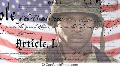 Animation of U.S. flag waving with U.S. Constitution text rolling over African American male soldier wearing military uniform. United States of America flag and holiday concept digital composition