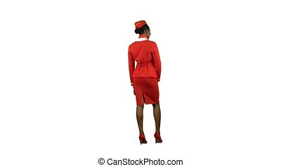 African American stewardess girl greets everyone on board....