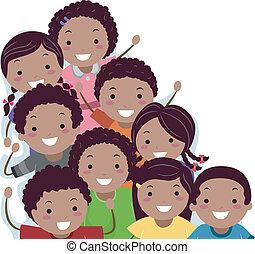 african - american, stickman, niños frontera