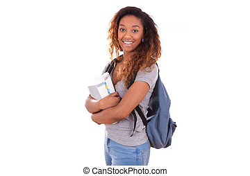 African American student girl holding books - Black people