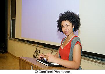African American student speech podium
