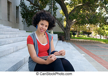 African American Student studying outdoor