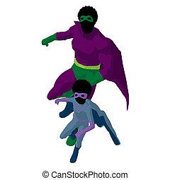 African American Super Hero Dad Illustration Silhouette