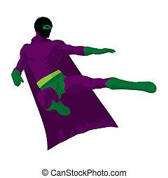 African American Super Hero Illustration Silhouette