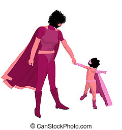 African American Super Hero Mom Illustration Silhouette -...