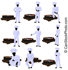 African American Sushi Chef Art Illustration Silhouette -...