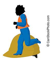 African American Teen Construction Worker Illustration -...