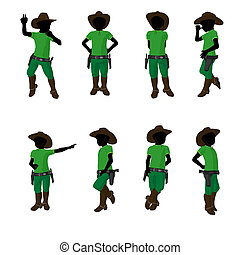 African American Teen Cowboy Illustration - African american...
