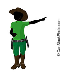 African American Teen Cowboy Illustration