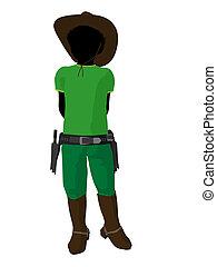 African American Teen Cowboy Illustration