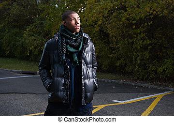 African American teen in winter