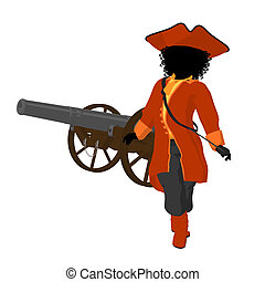 African American Teen Pirate Illustration Silhouette -...