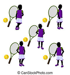 African American Teen Tennis Player Illustration - African...