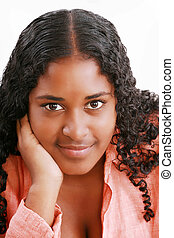 African american teenage girl close up