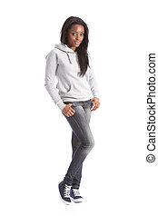 African american teenage girl in jeans and hoodie - Relaxed ...