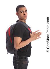 African American teenage student with school bag