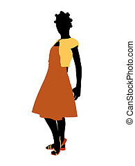 African American Teenager Illustration Silhouette - African...