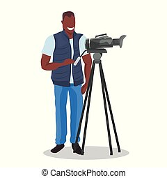 african american television operator using video camera on ...