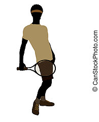African American Tennis Player Illustration Silhouette -...