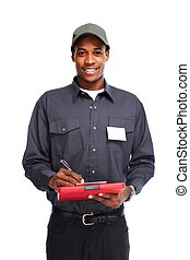 african - american, trabajador, man.
