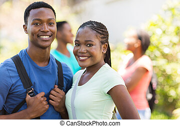 african american university friends portrait