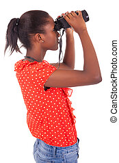 African American using binoculars isolated over white...
