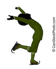 African American Victorian Boy Ice Skating Illustration...