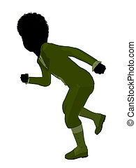 African American Victorian Boy Illustration Silhouette -...