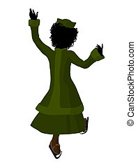 African American Victorian Girl Ice Skating Illustration...