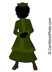 African American Victorian Girl Illustration Silhouette -...