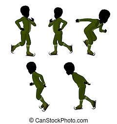 African American Victorian Ice Skating Boy Illustration...