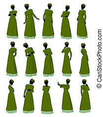 African American Victorian Illustration Silhouette - African...
