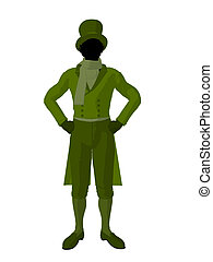 African American Victorian Man Illustration Silhouette -...