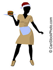 African American Waitress Illustration Silhouette - African...