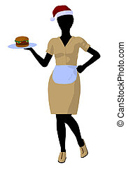 African American Waitress Illustration Silhouette