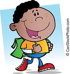African American Walking School Boy