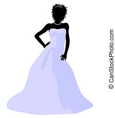 African American Wedding Bride Silhouette - African ameircan...