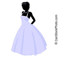 African American Wedding Bride Silhouette