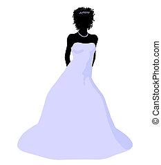 African American Wedding Bride Silhouette